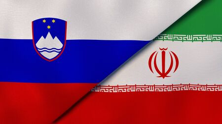 Two states flags of Slovenia and Iran. High quality business background. 3d illustration Stock Photo