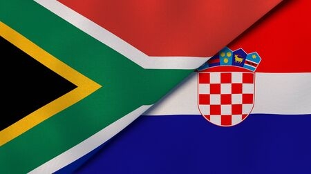 Two states flags of South Africa and Croatia. High quality business background. 3d illustration
