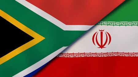 Two states flags of South Africa and Iran. High quality business background. 3d illustration
