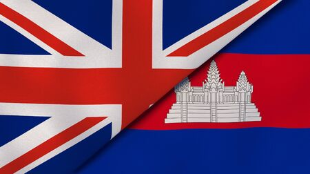 Two states flags of United Kingdom and Cambodia . High quality business background. 3d illustration