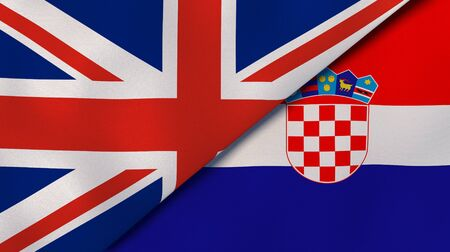 Two states flags of United Kingdom and Croatia. High quality business background. 3d illustration