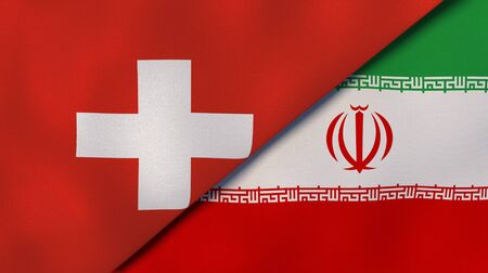Two states flags of Switzerland and Iran. High quality business background. 3d illustration