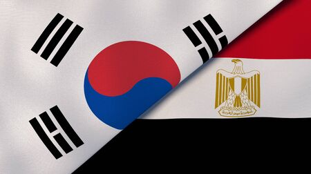 Two states flags of South Korea and Egypt. High quality business background. 3d illustration
