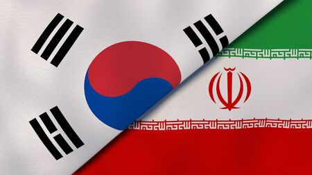 Two states flags of South Korea and Iran. High quality business background. 3d illustration