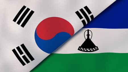 Two states flags of South Korea and Lesotho. High quality business background. 3d illustration