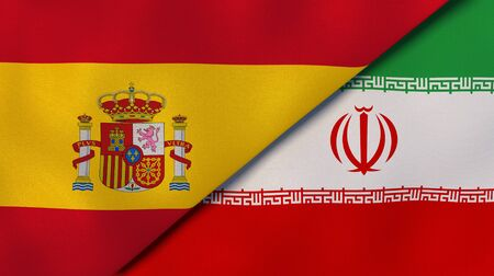 Two states flags of Spain and Iran. High quality business background. 3d illustration