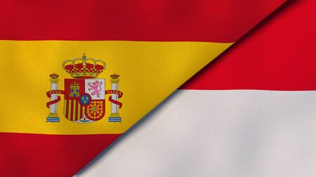 Two states flags of Spain and Monaco. High quality business background. 3d illustration