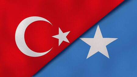 Two states flags of Turkey and Somalia. High quality business background. 3d illustration