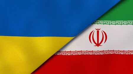 Two states flags of Ukraine and Iran. High quality business background. 3d illustration