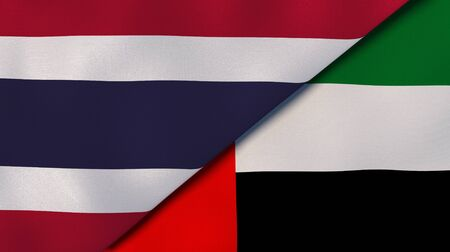 Two states flags of Thailand and United Arab Emirates. High quality business background. 3d illustration Stock Photo
