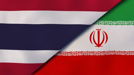 Two states flags of Thailand and Iran. High quality business background. 3d illustration