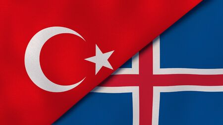 Two states flags of Turkey and Iceland. High quality business background. 3d illustration