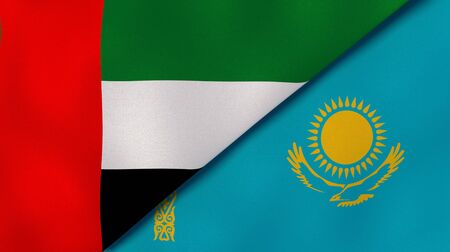 Two states flags of United Arab Emirates and Kazakhstan. High quality business background. 3d illustration Stock Photo