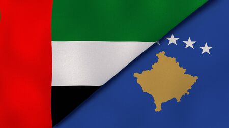 Two states flags of United Arab Emirates and Kosovo. High quality business background. 3d illustration Stock Photo