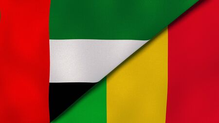 Two states flags of United Arab Emirates and Mali. High quality business background. 3d illustration