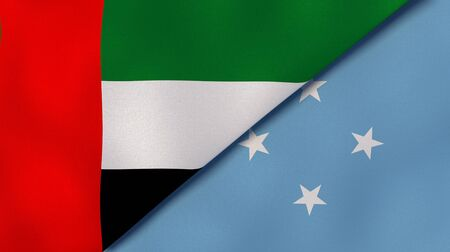 Two states flags of United Arab Emirates and Micronesia. High quality business background. 3d illustration