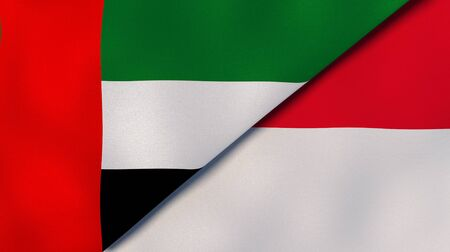 Two states flags of United Arab Emirates and Monaco. High quality business background. 3d illustration Stock Photo