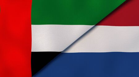 Two states flags of United Arab Emirates and Netherlands. High quality business background. 3d illustration Stock Photo