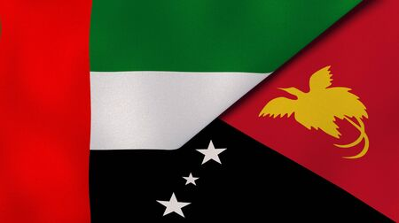 Two states flags of United Arab Emirates and Papua New Guinea. High quality business background. 3d illustration