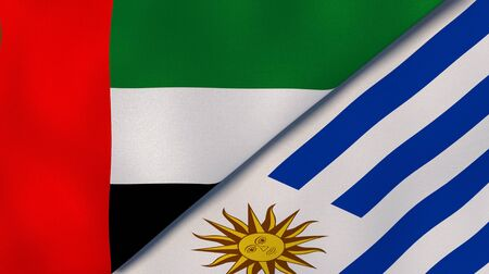 Two states flags of United Arab Emirates and Uruguay. High quality business background. 3d illustration Stock Photo
