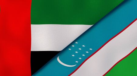 Two states flags of United Arab Emirates and Uzbekistan. High quality business background. 3d illustration