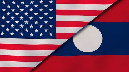 Two states flags of United States and Laos. High quality business background. 3d illustration