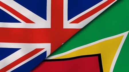 Two states flags of United Kingdom and Guyana. High quality business background. 3d illustration