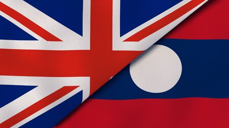 Two states flags of United Kingdom and Laos. High quality business background. 3d illustration 写真素材