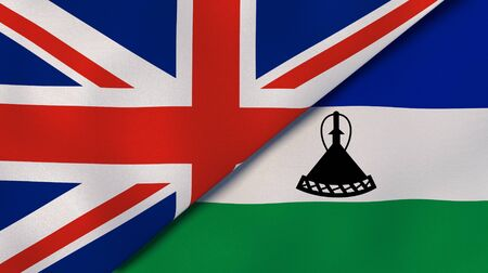 Two states flags of United Kingdom and Lesotho. High quality business background. 3d illustration