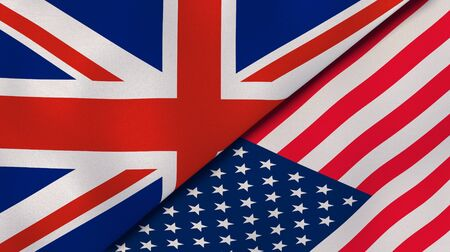 Two states flags of United Kingdom and United States. High quality business background. 3d illustration