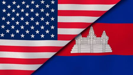 Two states flags of United States and Cambodia . High quality business background. 3d illustration