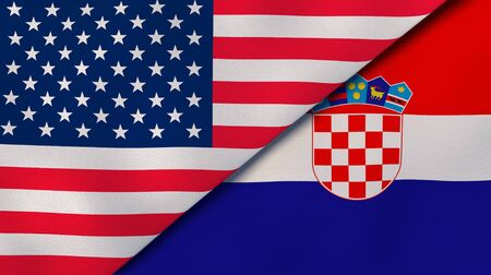 Two states flags of United States and Croatia. High quality business background. 3d illustration