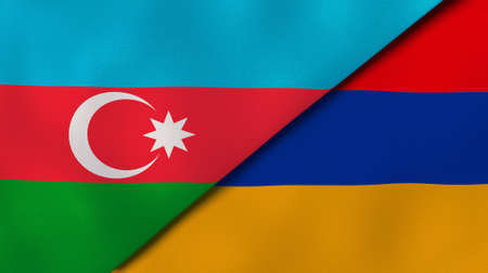 Two state flags of Azerbaijan and Armenia. High - quality business background. 3d illustration Banco de Imagens