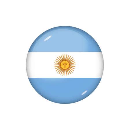 Icon flag of Argentina. Round glossy flag Illustration