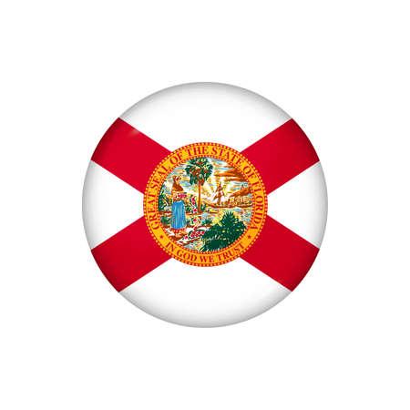 Icon flag of Florida. Round glossy flag. Vector illustration.