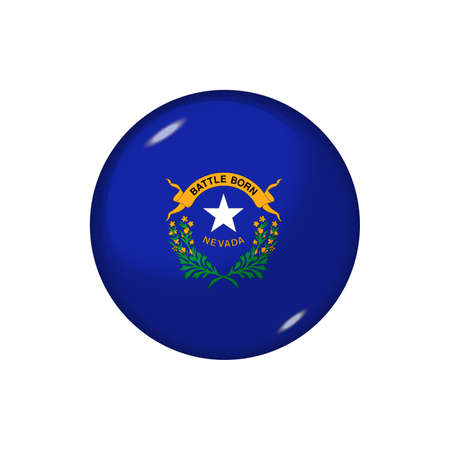 Icon flag of Nevada. Round glossy flag. Vector illustration.