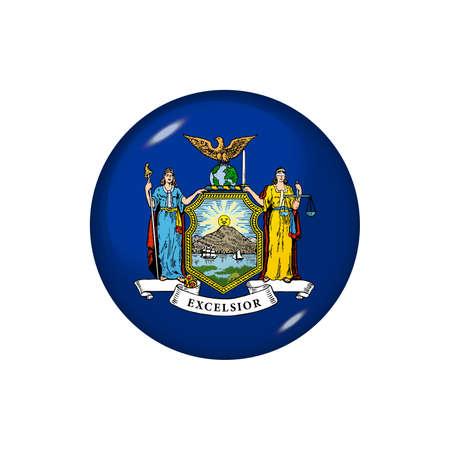 Icon flag of New York. Round glossy flag. Vector illustration. 矢量图像
