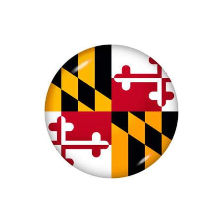 Icon flag of Maryland. Round glossy flag. Vector illustration.