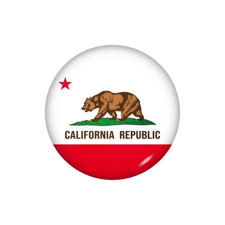 Icon flag of California. Round glossy flag. Vector illustration.