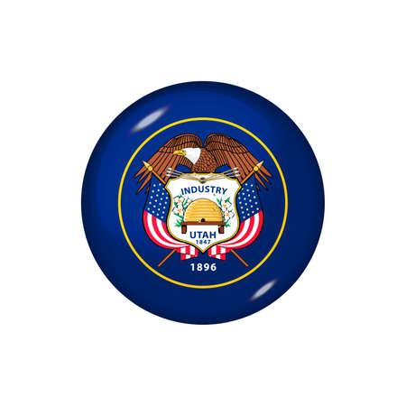 Icon flag of Utah. Round glossy flag. Vector illustration.
