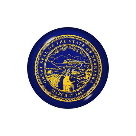 Icon flag of Nebraska. Round glossy flag. Vector illustration. 矢量图像