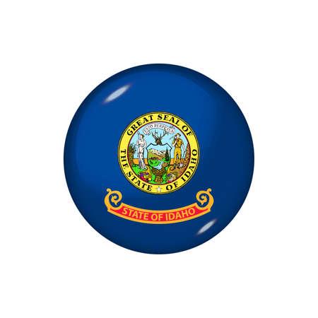Icon flag of Idaho. Round glossy flag. Vector illustration.