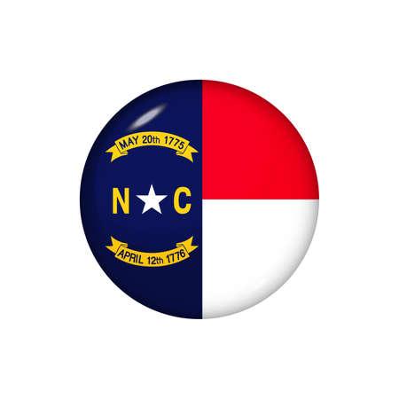 Icon flag of North Carolina. Round glossy flag. Vector illustration.