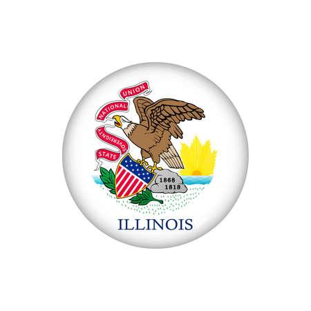 Icon flag of Illinois. Round glossy flag. Vector illustration.