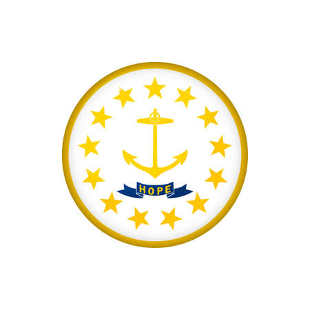 Icon flag of Rhode Island. Round glossy flag. Vector illustration. 矢量图像
