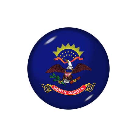 Icon flag of North Dakota. Round glossy flag. Vector illustration. 矢量图像