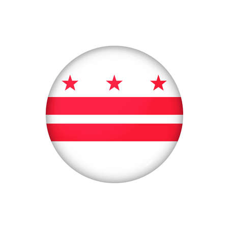 Icon flag of District of Columbia. Round glossy flag. Vector illustration. 矢量图像