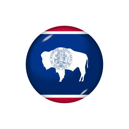 Icon flag of Alaska. Round glossy flag. Vector illustration.