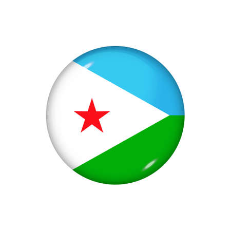 Icon flag of Djibouti. Round glossy flag. Vector illustration.