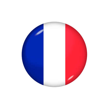 Icon flag of France. Round glossy flag. Vector illustration.